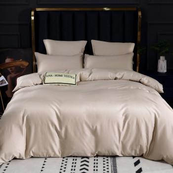 Постельное белье Королевский хлопок Премиум Светло-бежевый 2 спальный, на резинке 180x200x30