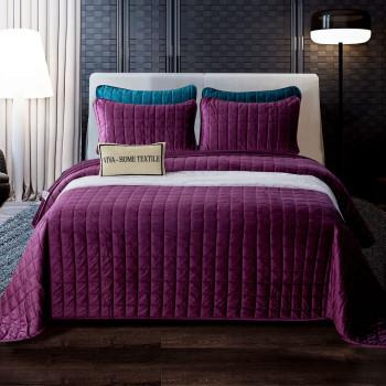 Велюровое покрывало с наволочками Veluro Фиолетовый 240x260