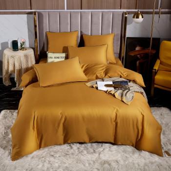 Постельное белье Египетский хлопок Элитный Золотистый 2 спальный, простынь 245x265