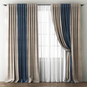 Комплект штор с подхватами Кирстен Бежево-коричневый/Синий, 240х270 см - 2 шт. + вуаль