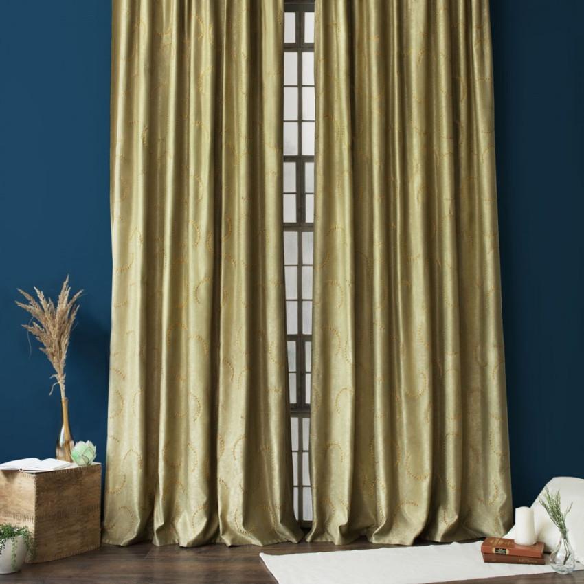Комплект штор с вышивкой Джим Зеленый, 145x270 см - 2 шт.