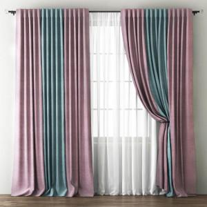 Комплект штор с подхватами Кирстен Розовый/Голубой, 240х270 см - 2 шт. + вуаль