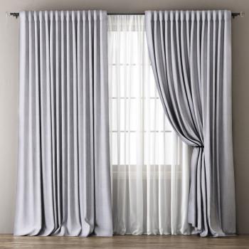 Комплект штор с подхватами Омма Светло-серый, 170х270 см - 2 шт. + вуаль