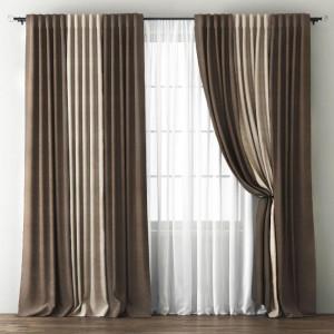 Комплект штор с подхватами Кирстен Шоколадный/Бежево-коричневый, 240х270 см - 2 шт. + вуаль