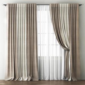 Комплект штор с подхватами Кирстен Бежево-коричневый/Кремовый, 240х270 см - 2 шт. + вуаль