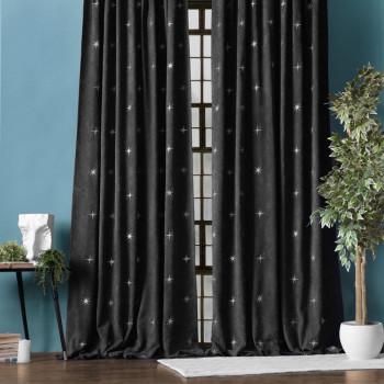Комплект штор с вышивкой Бэлли Черный, 145x270 см - 2 шт.