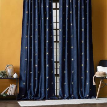 Комплект штор с вышивкой Бэлли Синий, 145x270 см - 2 шт.