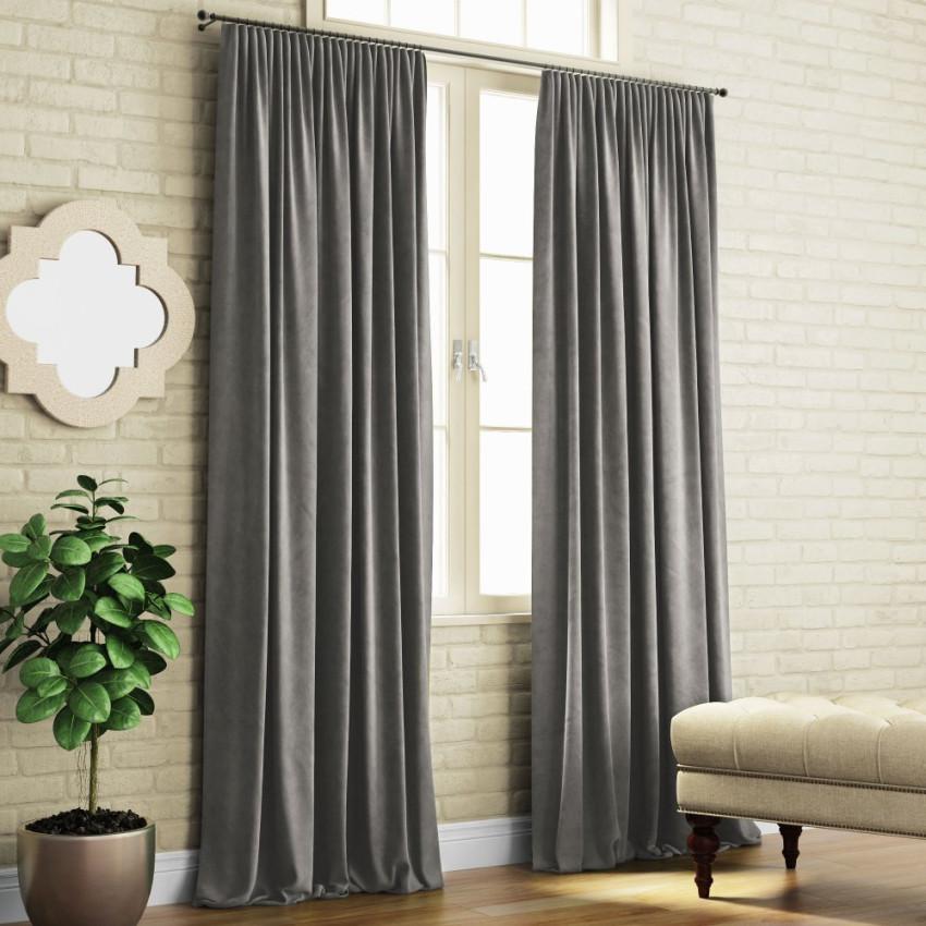 Портьеры из софта Ким Темно-серый, 200x270 см - 2 шт.