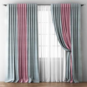 Комплект штор с подхватами Кирстен Серый/Розовый, 240х270 см - 2 шт. + вуаль