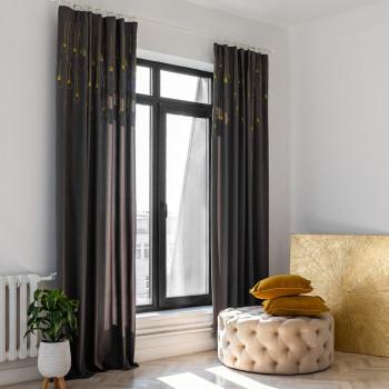 Комплект штор с вышивкой Лэмпс Темно-серый 145x270 см - 2 шт.