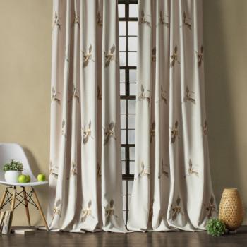 Комплект штор с вышивкой Аника Кремовый, 145x270 см - 2 шт.