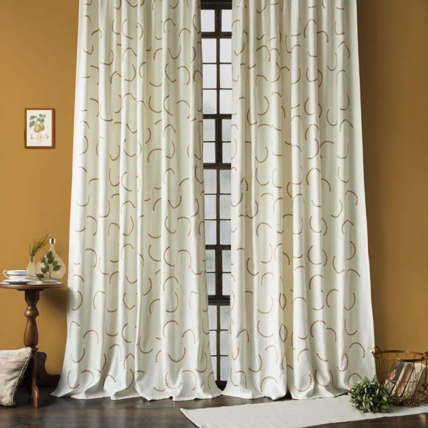 Комплект штор с вышивкой Джим Молочный, 145x270 см - 2 шт.