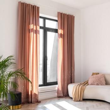 Комплект штор с вышивкой Мьюз Розовый 145x270 см - 2 шт.
