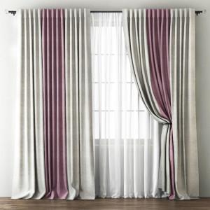 Комплект штор с подхватами Кирстен Кремовый/Розовый, 240х270 см - 2 шт. + вуаль