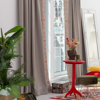 Комплект штор с вышивкой Лея Бежево-серый, 200x280 см - 2 шт.