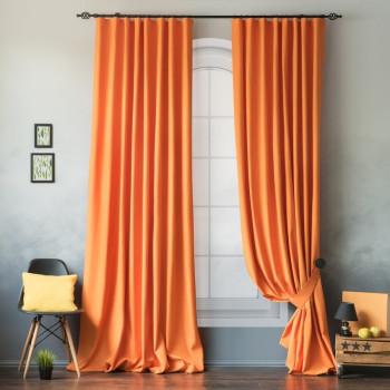 Комплект штор с подхватами Билли Оранжевый, 170х270 см - 2 шт.