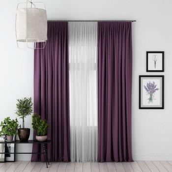 Комплект штор с подхватами Блэкаут Фиолетовый, 170х270 см - 2 шт. + вуаль