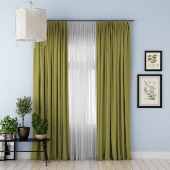 Комплект штор с подхватами Блэкаут Зеленый, 170х270 см - 2 шт. + вуаль
